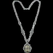 1920's Ballou Camphor Glass and Marcasite Art Deco Necklace