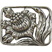 Sterling Silver Frame Brooch with Large Flower