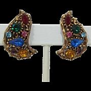 Sparkling Jewel-tone Rhinestone Earrings