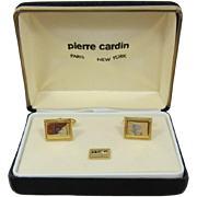 Pierre Cardin New Old Stock Cufflinks and Tie Clasp with Chain