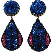 Dramatic Midnight Blue and Pink Dangling Sequin Earrings