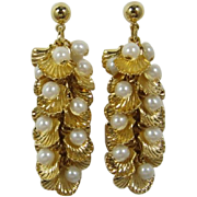 Avon Cascading Shell and Imitation Pearl Pierced/Post Dangling Earrings