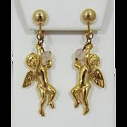 Wonderful Dangling Cherub or Angel Earrings