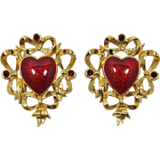 """Avon """"Festive Heart"""" Red Enamel Earrings - Pierced"""