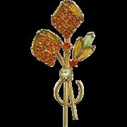 Smoky Topaz and Orange Rhinestone Flower Brooch