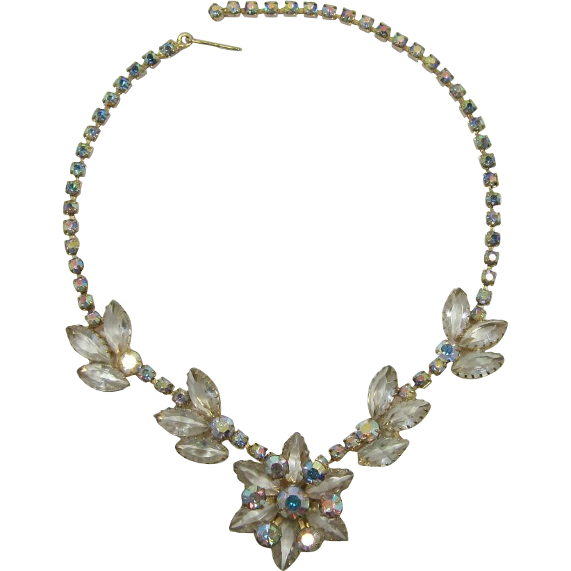 Aurora Borealis and Clear Rhinestone Navette Necklace