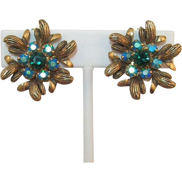 Selro/Selini Teal and Emerald Green Rhinestone Earrings - Book Piece