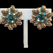 Selro/Selini Teal and Emerald Green Rhinestone Earrings - Book Piece - LAST CHANCE