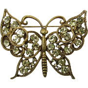 Bold and Beautiful Yellow Rhinestone Butterfly Pin