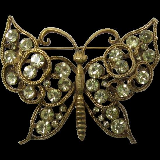 Bold and Beautiful Yellow Rhinestone Butterfly Pin