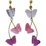 Avon Long Dangling Earrings with Pink and Lavender Butterflies - Book Piece