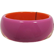 Graziano Hot Pink and Bright Orange Lucite Bangle Bracelet