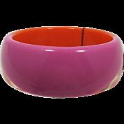 Graziano Hot Pink and Bright Orange Lucite Bangle Bracelet