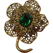 Gold-tone Filigree Flower Pin with Green Cushion-Cut Stone