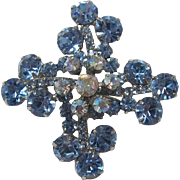 D&E / Juliana Blue and AB Rhinestone Florette Pin