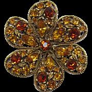 Bold Topaz Rhinestone Flower Pin