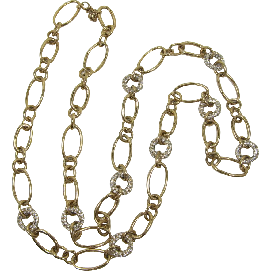 Elegant Carolee Long Gold-tone Link Necklace with Clear Rhinestone Accents