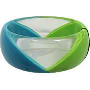 Graziano Lime Green and Teal Lucite Bangle Bracelet