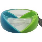 Graziano Lime Green and Medium Teal Lucite Bangle Bracelet