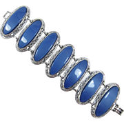 Chunky Silver-tone Bracelet with Blue Moonglow Insets