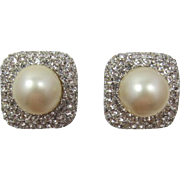 Elegant Ciner Large Imitation Pearl and Clear Rhinestone Earrings