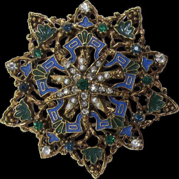 Signed ART Victorian Revival Enamel and Imitation Pearl Brooch