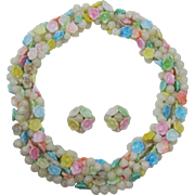 Hong Kong Necklace and Earring Set of White Shells and Pastel Flowers
