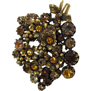 Made Austria Flower Brooch with Sparkling Topaz and Bi-Color Rhinestones
