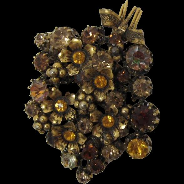 Made Austria Flower Brooch with Sparkling Topaz and Bi-Color Rhinestones