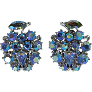 Lisner Blue Aurora Borealis Rhinestone Fruit Earrings