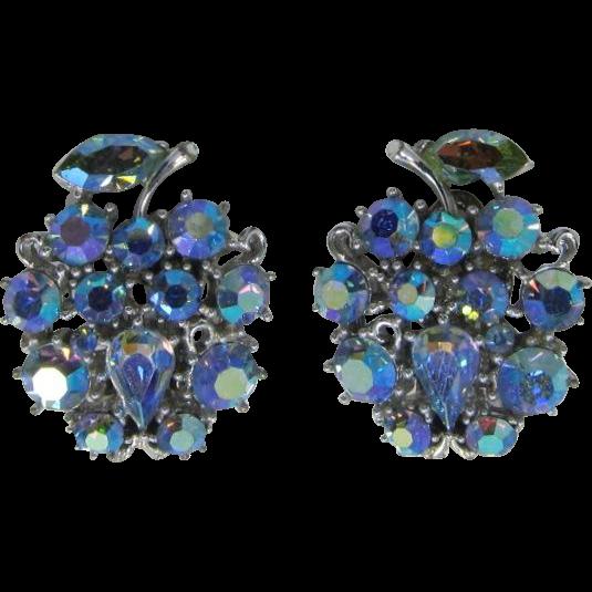 Lisner Blue Aurora Borealis Rhinestone Fruit Earrings