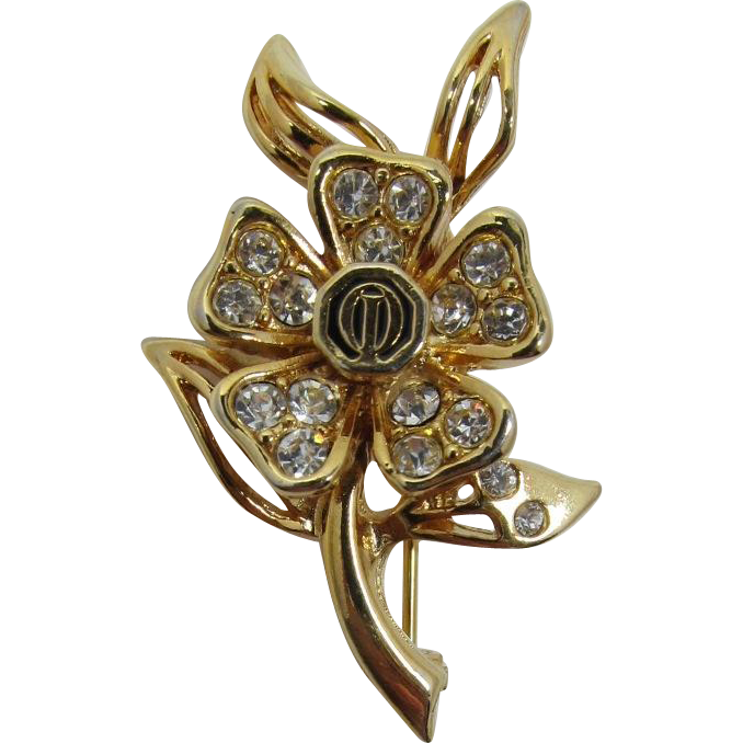 Optimist's Club Flower Pin with Clear Rhinestones