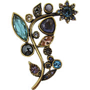 Patricia Locke Modernistic Flower Brooch with Aqua, Purple, Pink Rhinestones