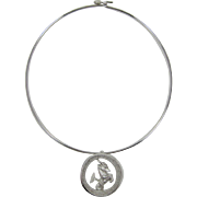 Trifari Wire Necklace with Capricorn Zodiac Pendant