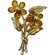 Beautiful Gold-Plated Double Flower Fur Clip with Topaz Rhinestones