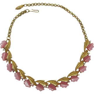 Gold-tone and Pink Moonglow Leaf and Flower Necklace