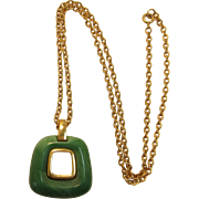 Trifari Imitation Jade Modernistic / MOD Pendant Necklace
