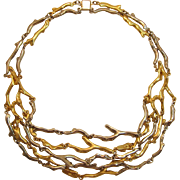 Gold-tone and Silver-tone Tree Branch Link Necklace