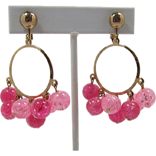 Sarah Coventry Hot Pink and Light Pink Beaded Hoop Earrings