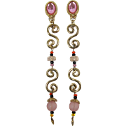 Long Dangling Pink Shoulder-Duster Earrings