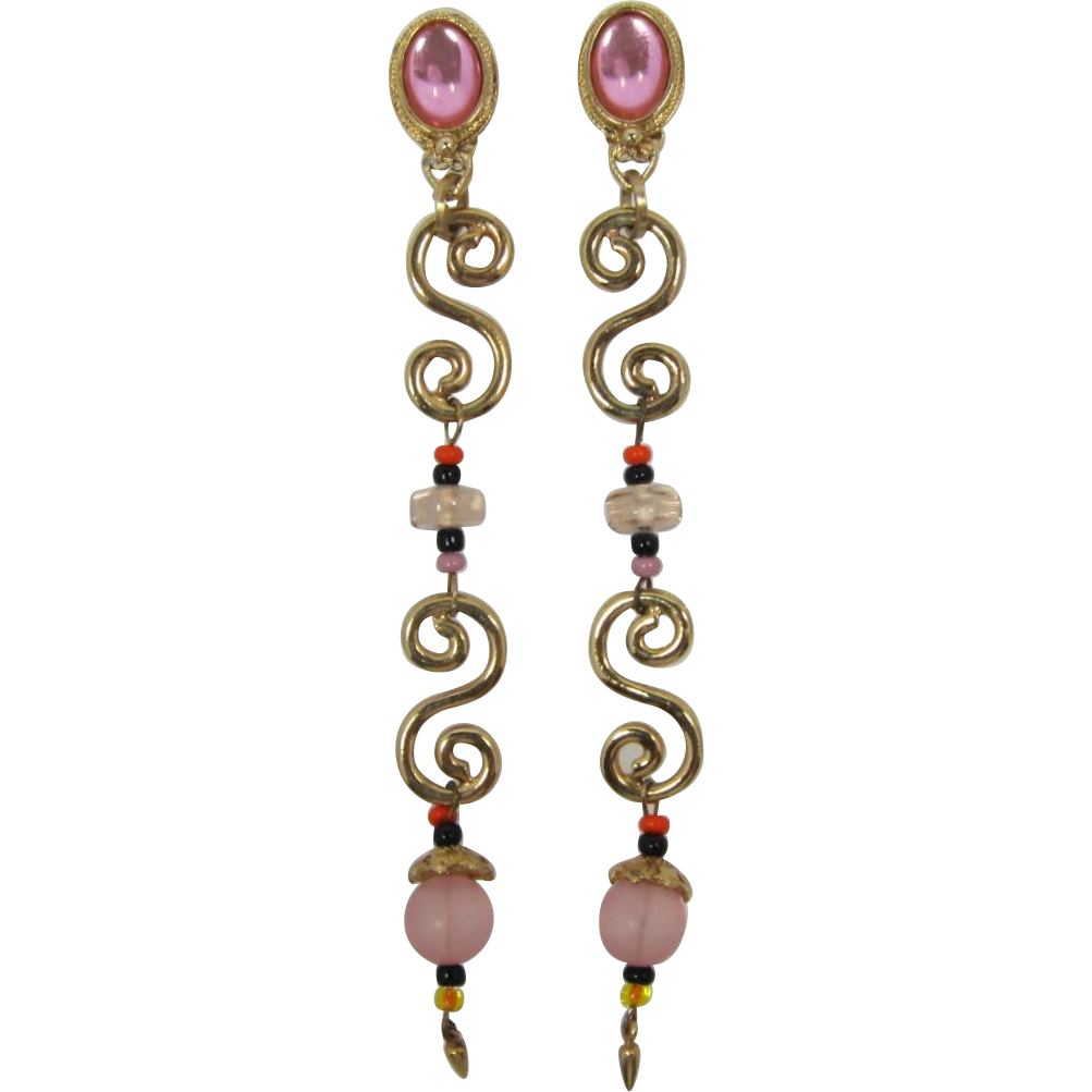 Long Dangling Pink Shoulder-Duster Earrings