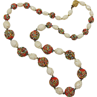 Single Strand Necklace with Imitation Ivory Beads and Colorful Ceramic Beads