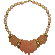 Napier Frosted Tangerine and Light Cinnamon Lucite Necklace