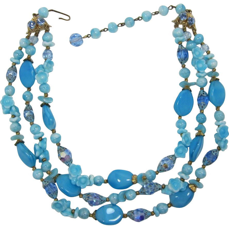 Three Strand Aqua and Blue Glass Beaded Necklace with Flowers