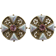 1928 Jewelry Company Pink and Iridescent White Earrings