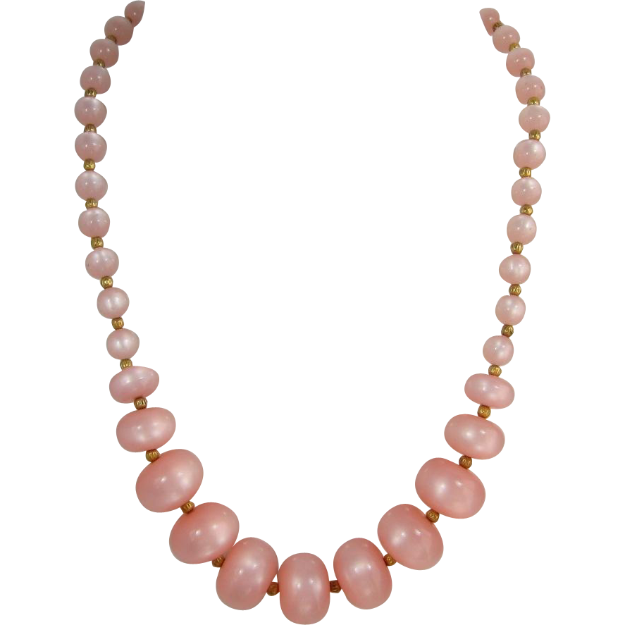 Large Pink Moonglow Beads Necklace