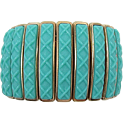 Trifari Expandable Bracelet with Bright Aqua Insets