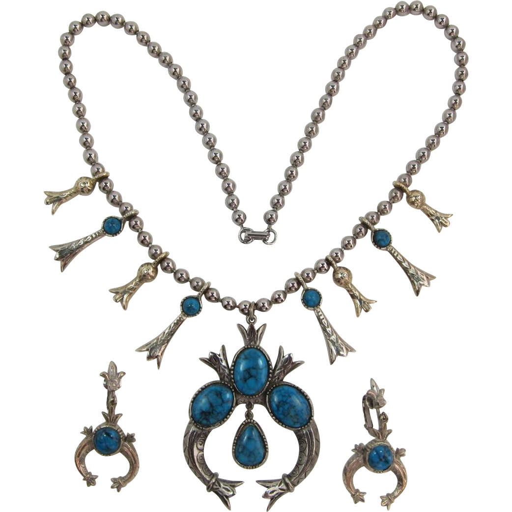 Signed ART Squash Blossom Necklace and Earrings with Imitation Turquoise Stones