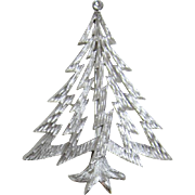 "Trifari Silver-tone ""Lightning Bolt"" Christmas Tree Pin"