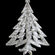 "Trifari Silver-tone ""Lightning Bolt"" Christmas Tree Pin"